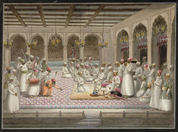 Nawab Asaf al-Daula seated on a rug smoking a hookah and listening to a party of male musicians.